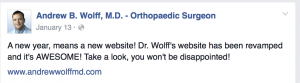 Dr Wolff social media post about Buzzquake Marketing LLC