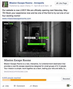 Social Media mention Mission Escape Rooms
