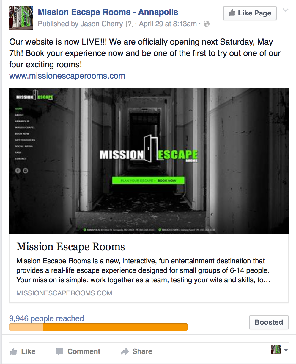 Social Media mention Mission Escape Rooms
